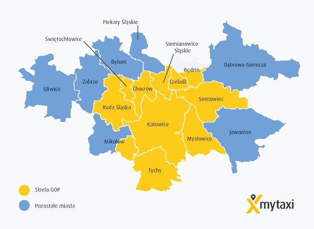 mytaxi Śląsk mapa
