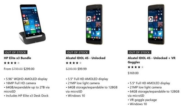 smartfony z Windows 10 Mobile