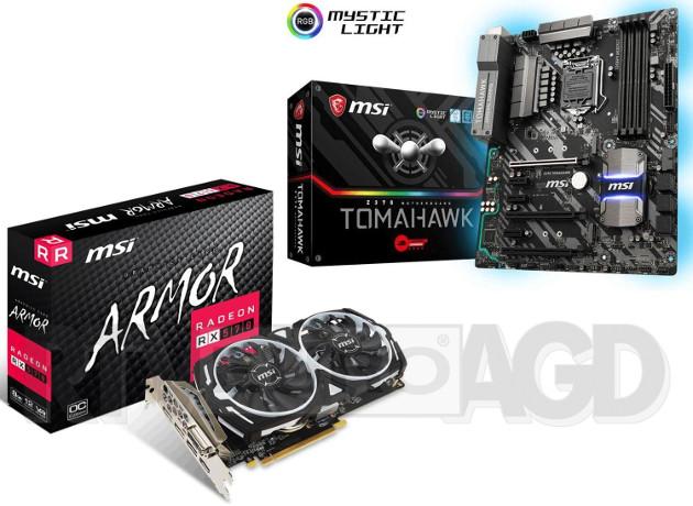 Płyta główna MSI Z370 Tomahawk + karta graficzna MSI Radeon RX 570 ARMOR 8GB OC