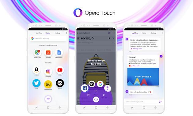 Opera Touch smartfon