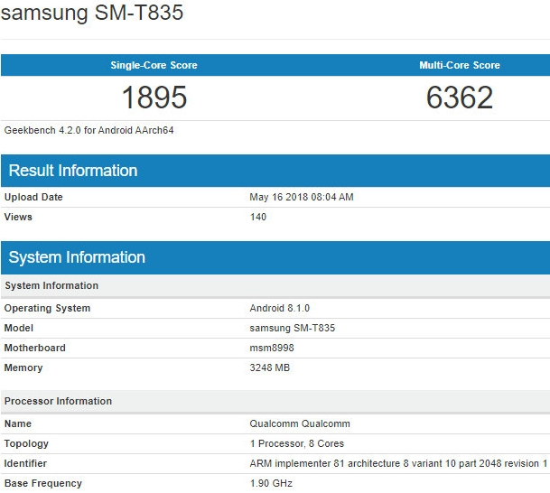 Samsung Galaxy Tab S4 procesor