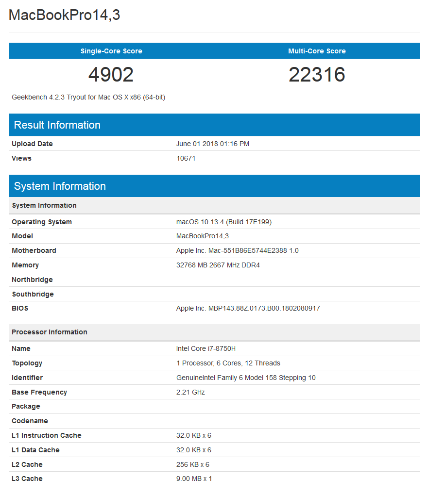 Apple MacBook - GeekBench