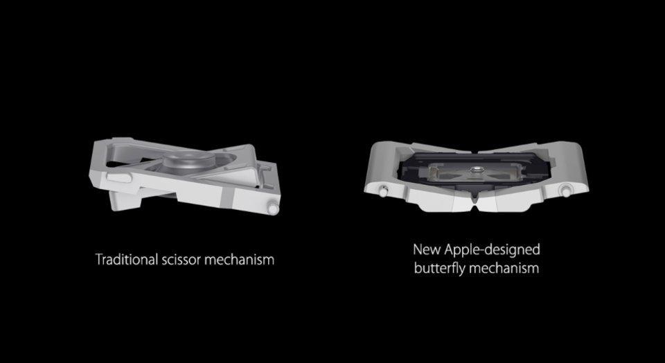 Apple - porównanie klawiatury z mechanizmem nożycowym i motylkowym
