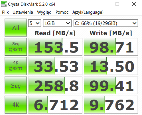 Kiano Elegance 13.3 - wydajność pamięci eMMC