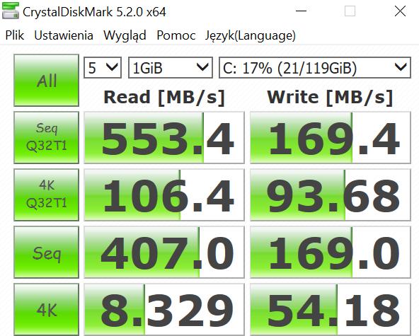 Kiano Elegance 13.3 - wydajność dysku SSD