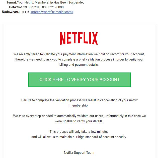 Netflix mail fałszywy mailer