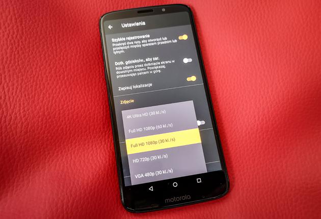 Moto Z3 Play tryb 4K