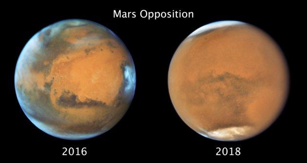 Mars w opozycji 2016 i 2018