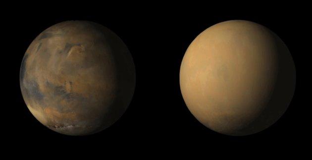 Mars z i bez pyłu