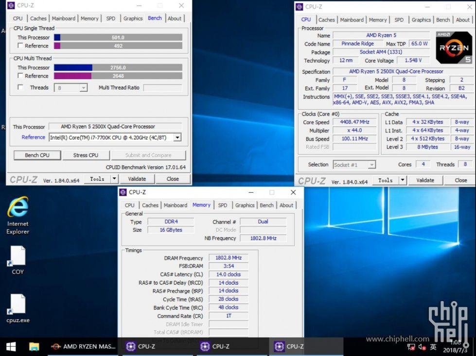 AMD Ryzen 5 2500X - wydajność CPU-Z po podkręceniu