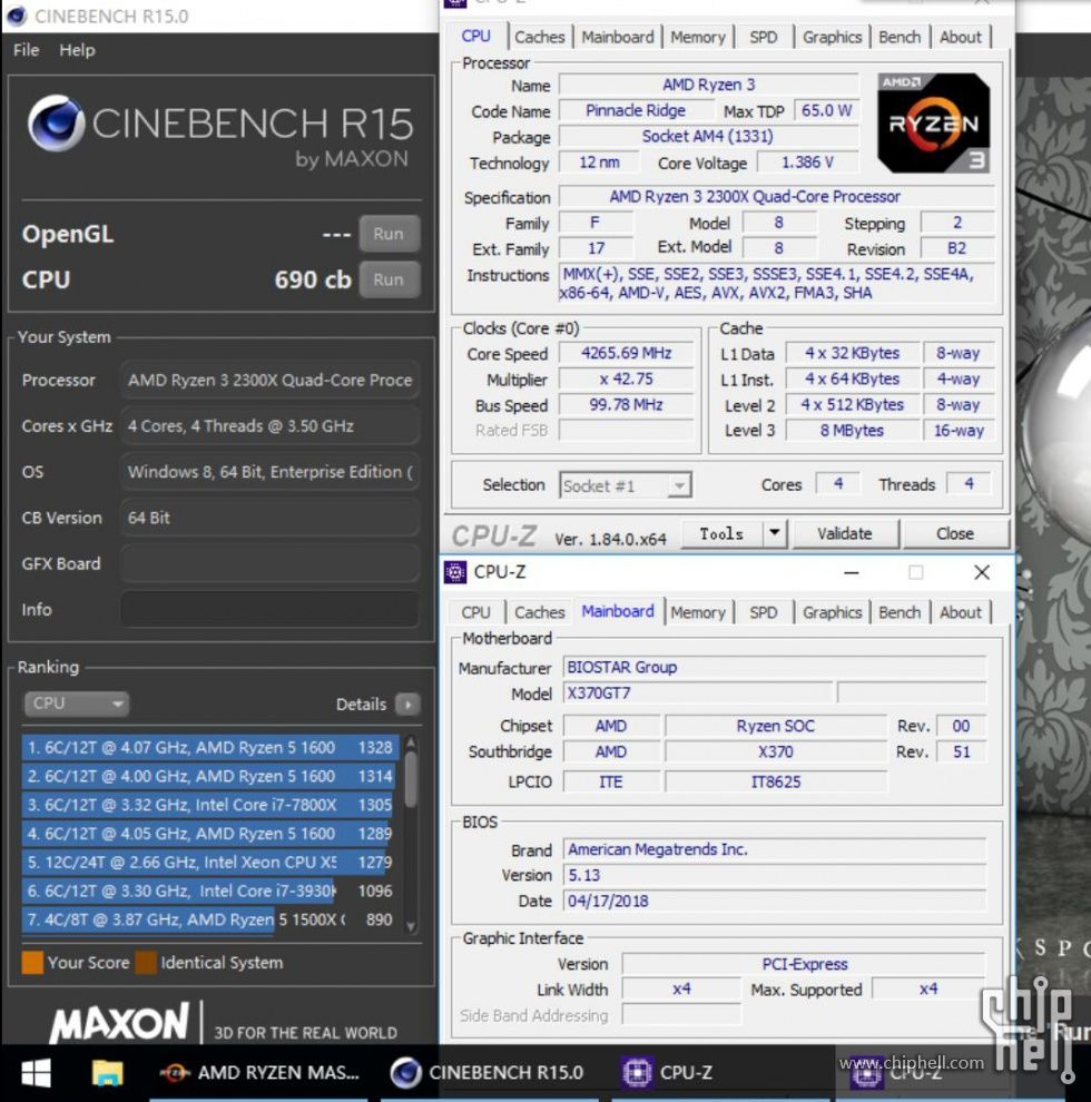 AMD Ryzen 3 2300X - Cinebench R15