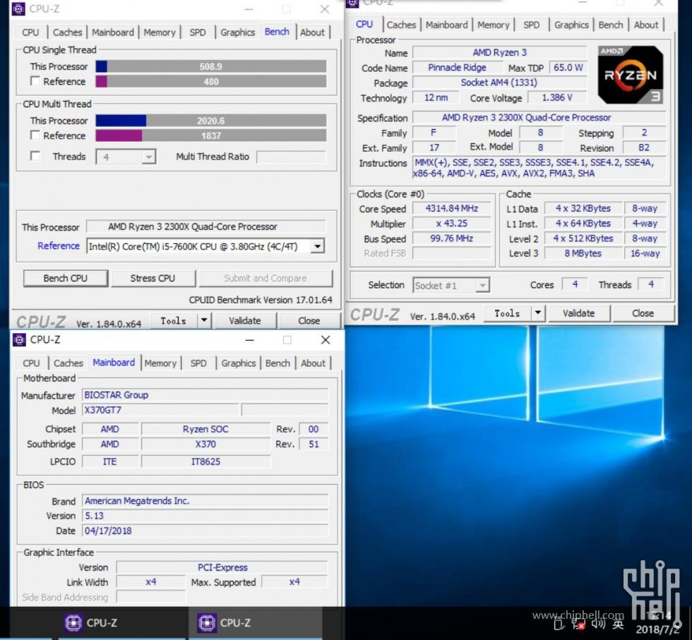 AMD Ryzen 3 2300X - CPU-Z