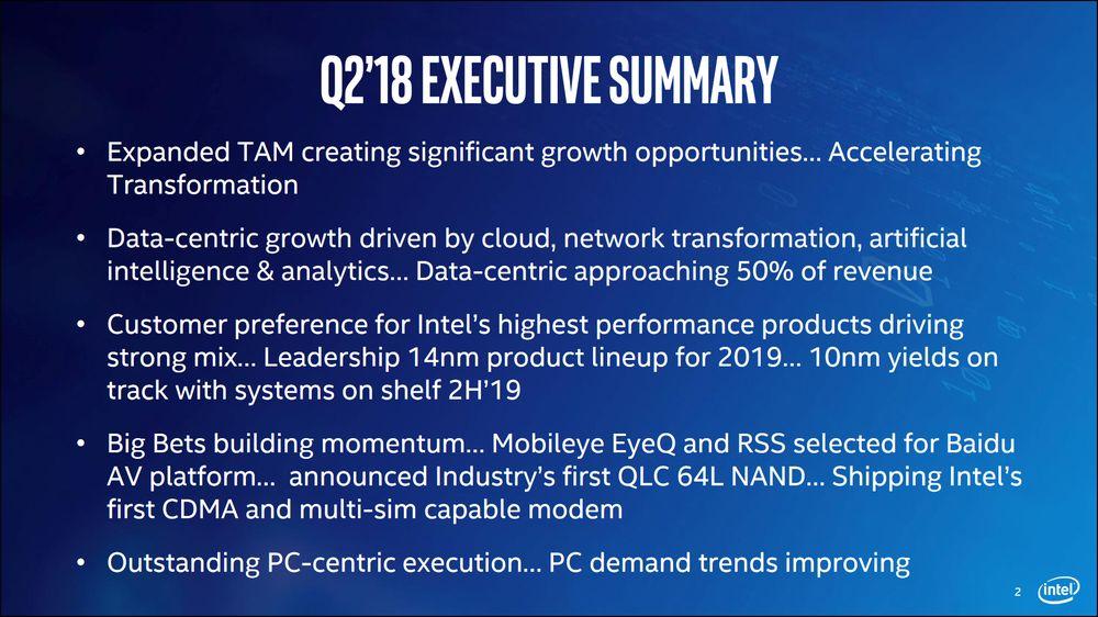 Intel - podsumowanie Q2 2018