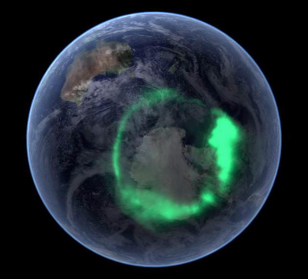 Zorza polarna nad Antarktydą widziana z Kosmosu