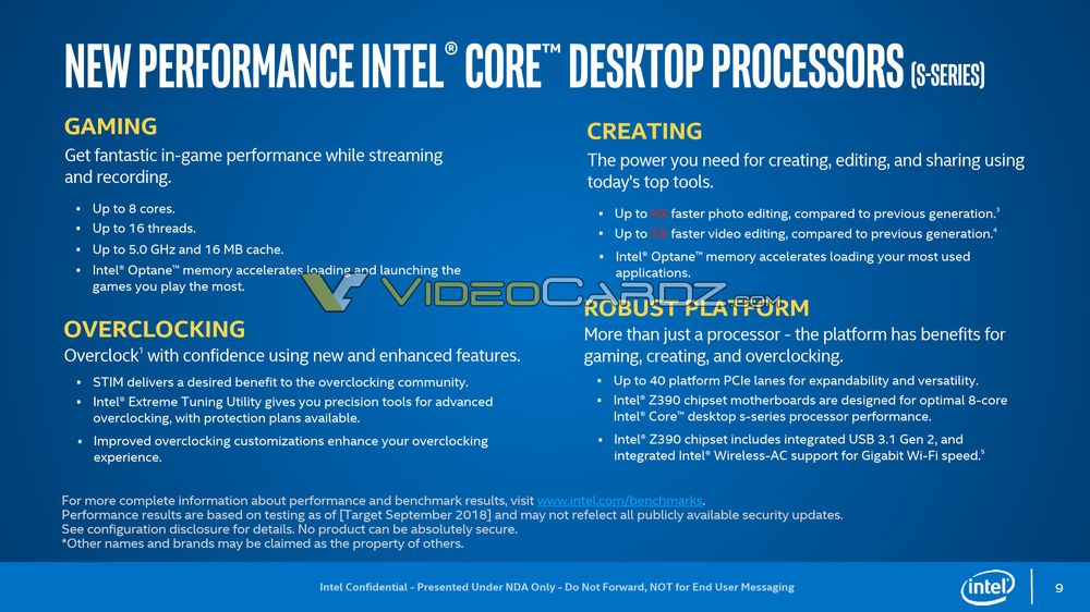 Intel Core i5-9600K, Core i7-9700K i Core i9-9900K - specyfikacja