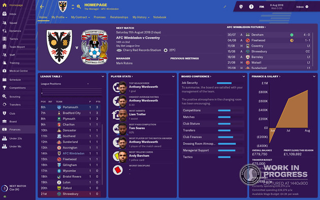 Football Manager 2019 UI