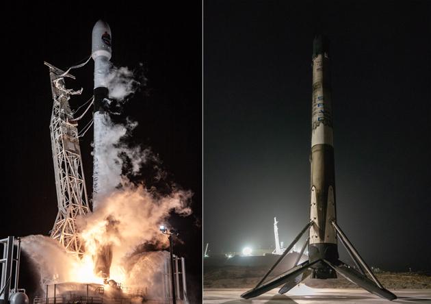 Start SpaceX Falcon 9 i po lądowaniu