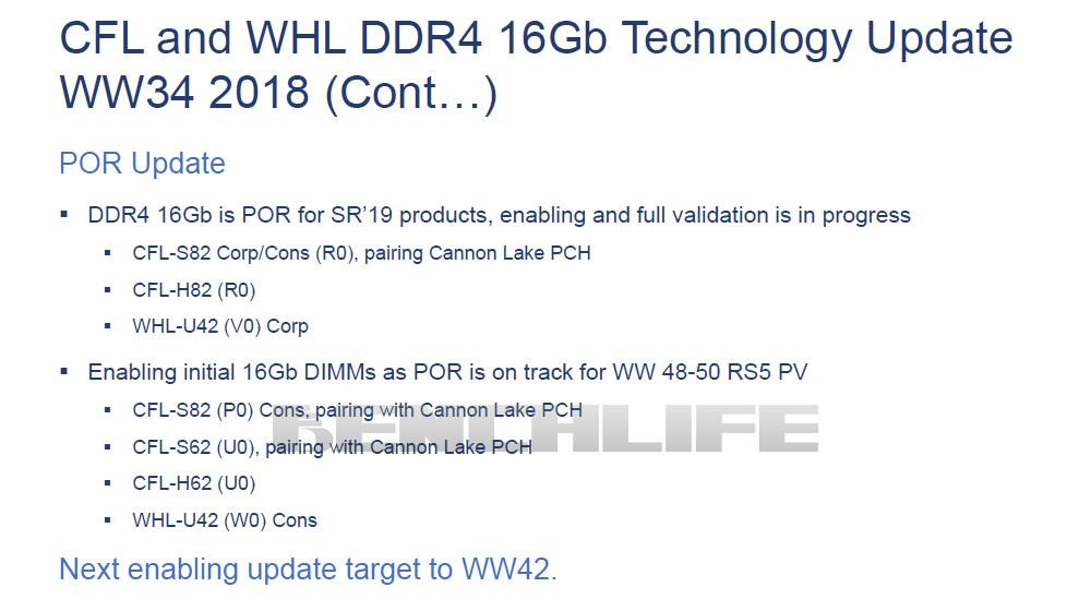 Intel Coffee Lake i Whiskey Lake - wsparcie dla pamięci 16 Gb
