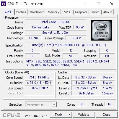 Intel Core i9-9900K - rekord podkręcania