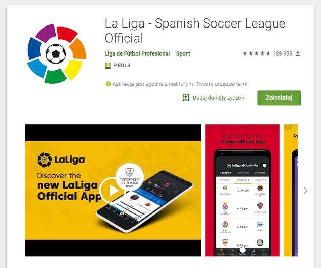 La Liga aplikacja