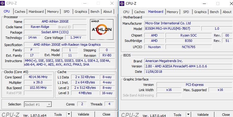 AMD Athlon 200GE - podkręcanie