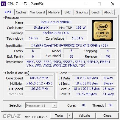 Intel Core i9-9980XE - podkręcanie rekord