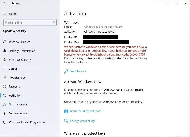 Windows 10 Pro błąd aktywacja