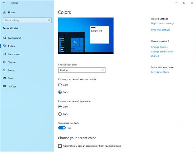 Windows 10 Light Mode menu