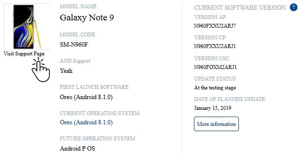 Galaxy Note 9 aktualizacja