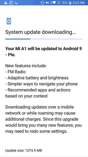 Xiaomi Mi A1 Android 9.0 Pie