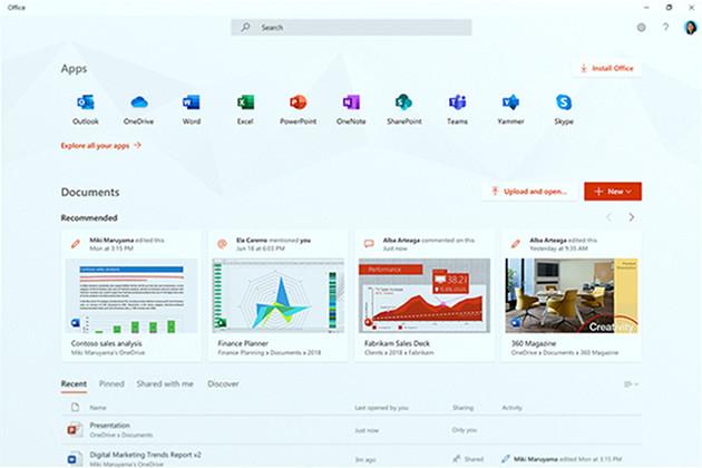 Office app screen
