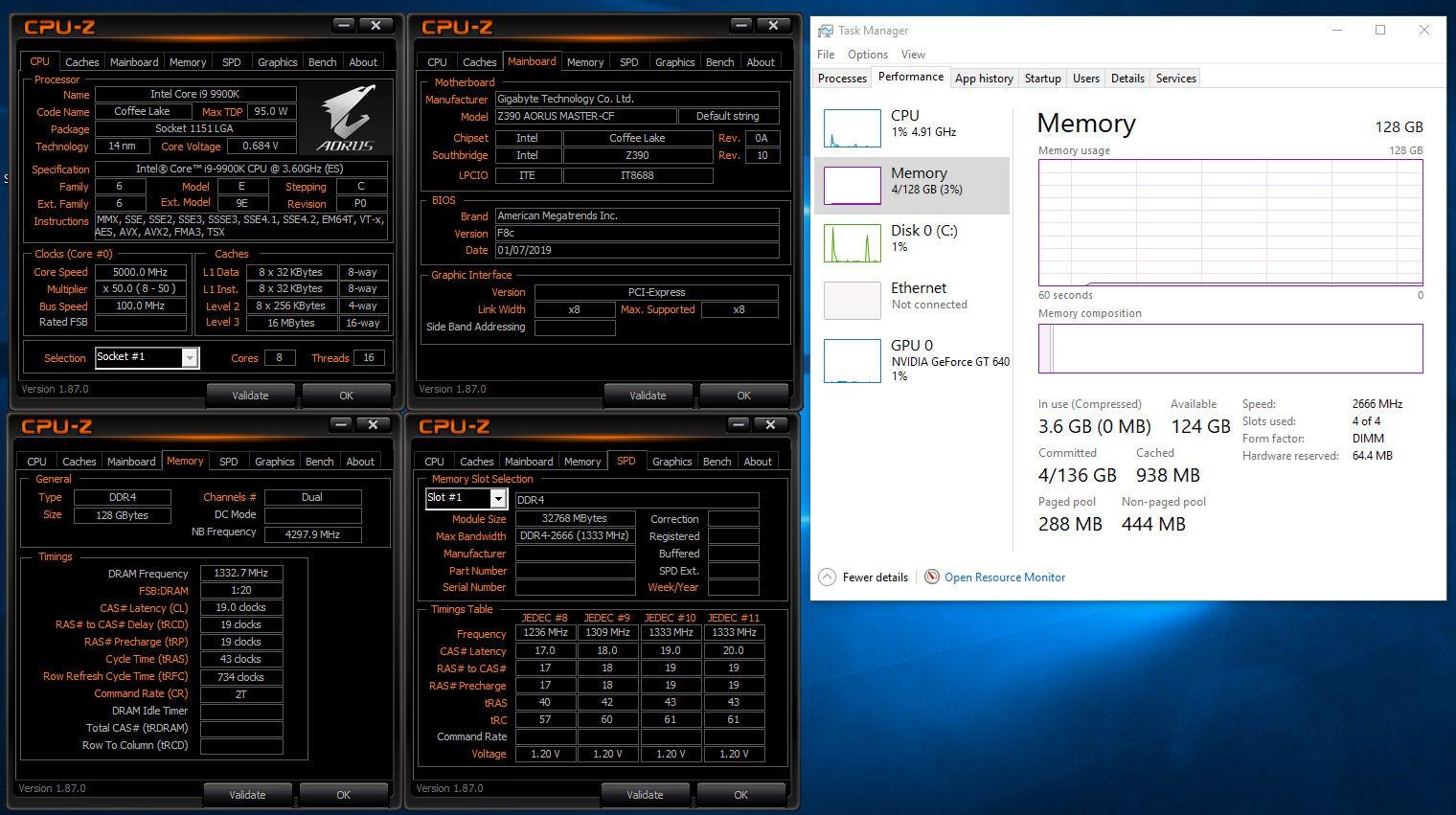 Gigabyte Z390 - obsługa 128 GB pamięci DDR4 RAM