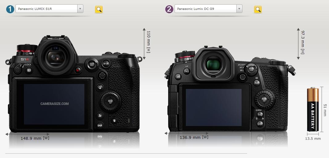 Porównanie Panasonic Lumix S1R z G9 tyl