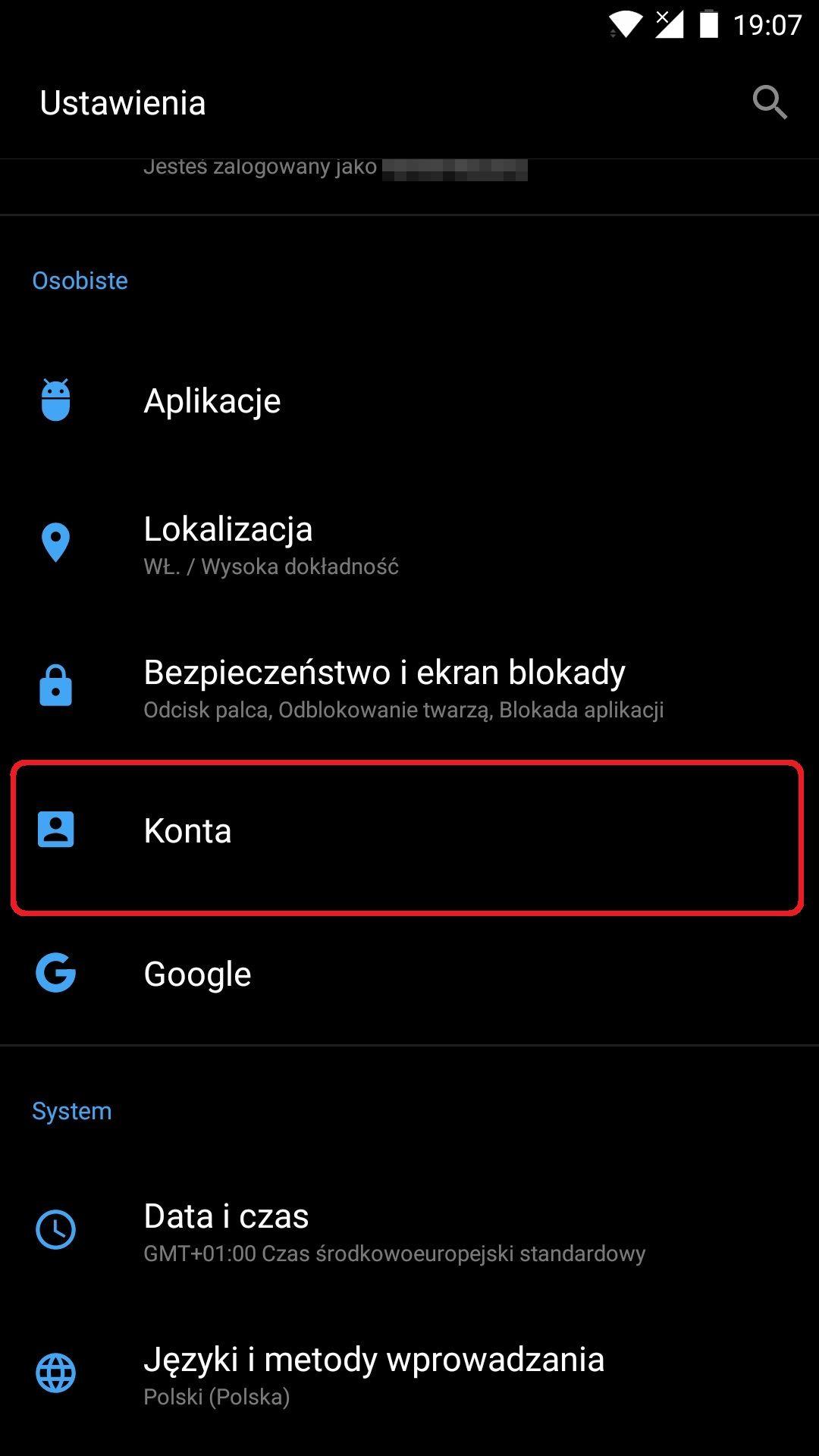 Ustawienia konta Google