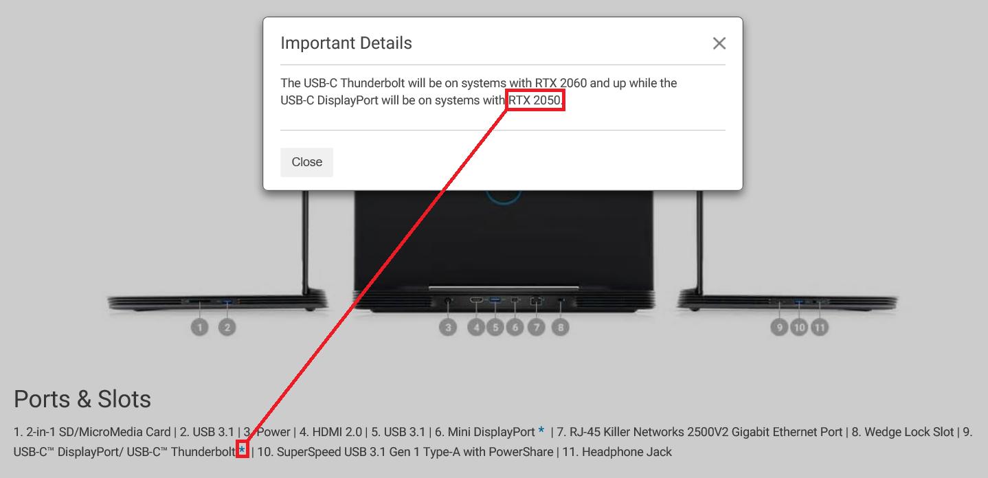 Dell G5 15 - informacja o GeForce RTX 2050