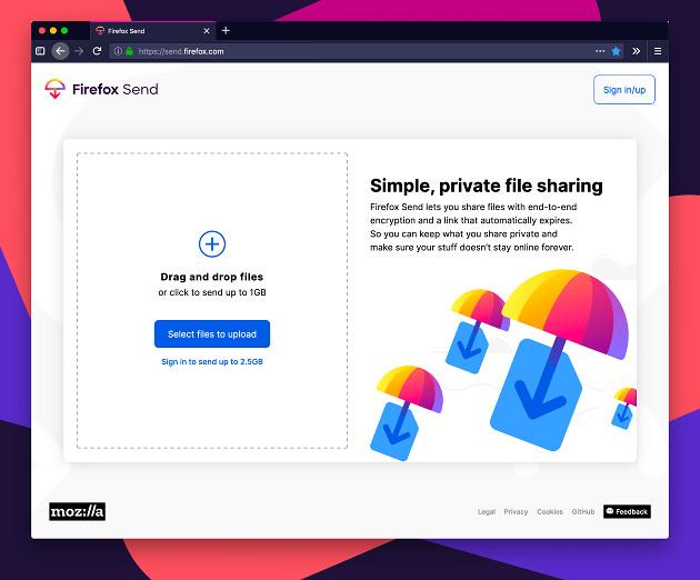 Firefox Send screen 1