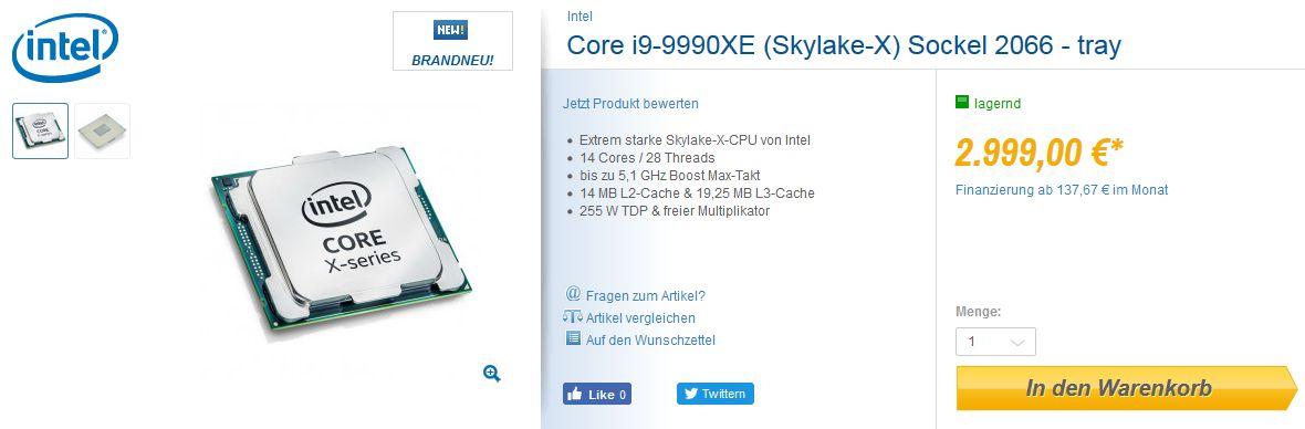 Intel Core i9-9990XE - ofera sprzedaży