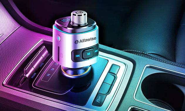 Alfawise QC3.0 Bluetooth 4.2 FM Transmitter Car Charger
