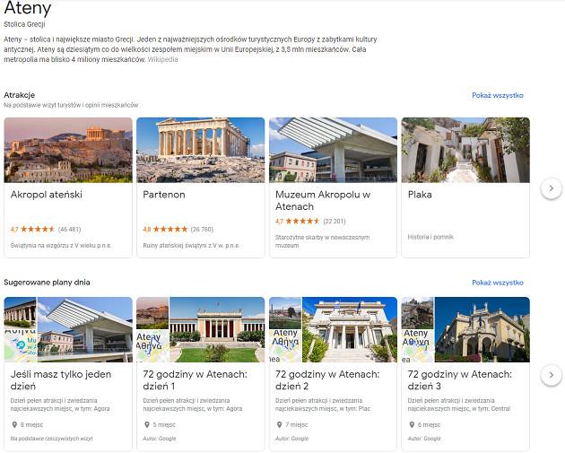 Google Podróże atrakcje
