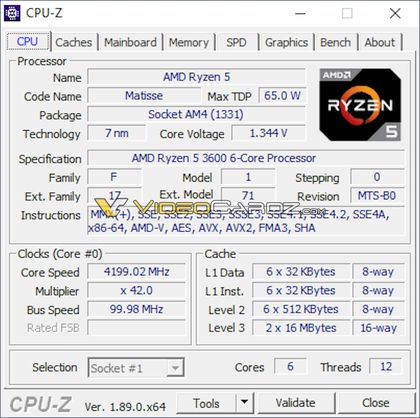 AMD Ryzen 5 3600 - CPU-Z