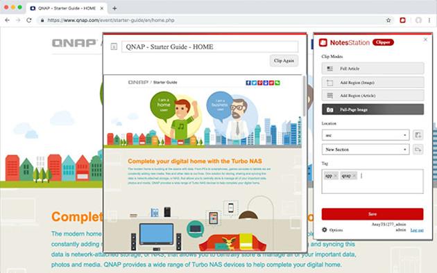 QNAP Notes Station 3 Clipper screen