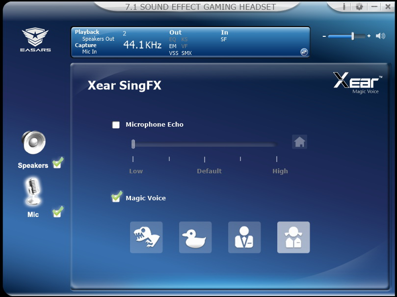 Easars Vortex 7.1 - opcje zmiany głosu