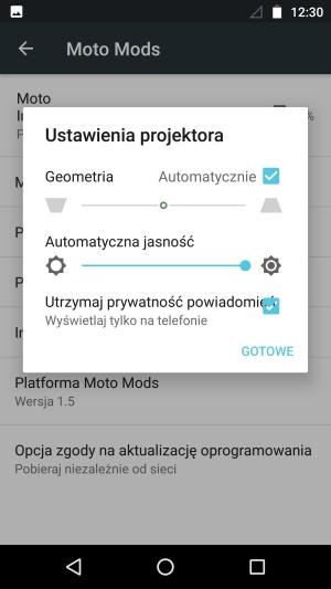 Moto Z projektor ustawienia