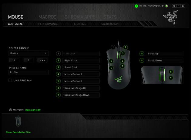 Razer DeathAdder Elite - ustawienia myszy