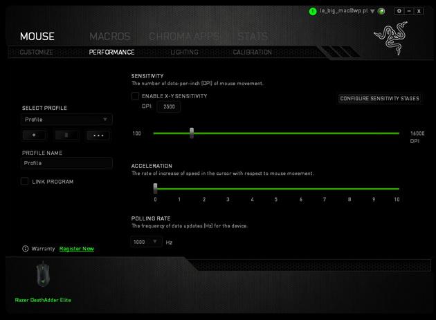 Razer DeathAdder Elite - progi rozdzielczości