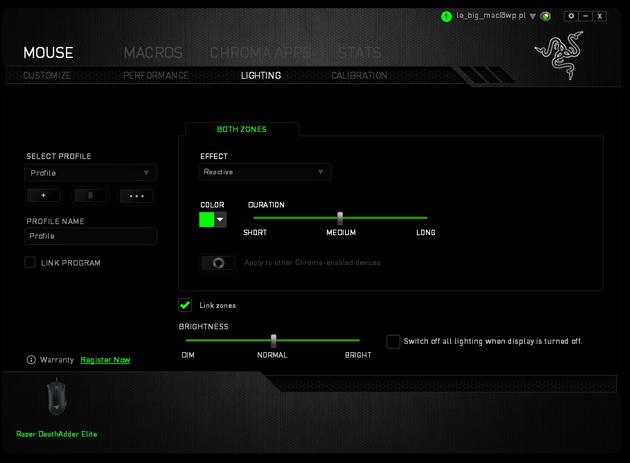 Razer DeathAdder Elite - ustawienia podświetlenia