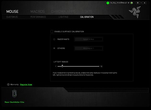 Razer DeathAdder Elite - ustawienia pracy na podkładce