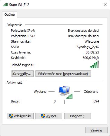 Siła nawiązanego sygnału w sieci 2,4G