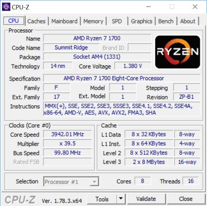 AMD Ryzen 7 1700 - OC