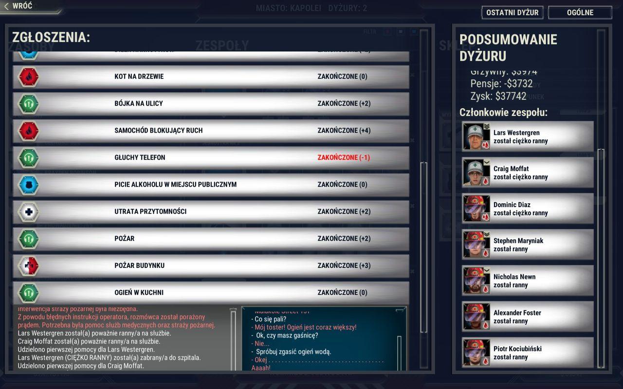 Operator numeru alarmowego - lista zgłoszeń